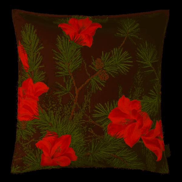 Kissenhülle Amara 2, Alloverdruck Amaryllisblüten/ Zweige, Farbe rot, Größe 50x50cm