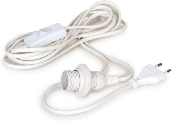 Kabel E14, Farbe weiß, 4m Länge mit Schalter, Haken und Stecker für Steckdose