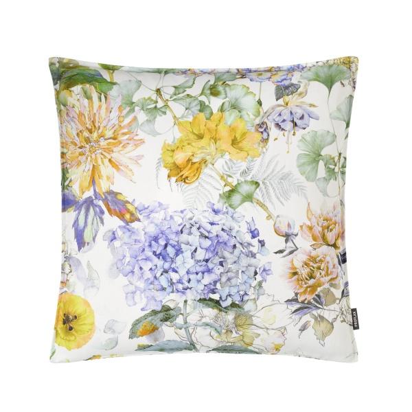 Francesca, Kissenhülle, Alloverdruck mit Blumen auf 100% CO, Farbspiel: gelb/ blau/ grün/ natur