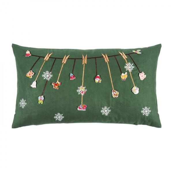 Kissenhülle Jingle, Farbe green, Größe 30x50 cm, kreative Applikation mit Stickerei