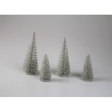 Bäume Glitzer, Box mit 4 Stück, unterschiedliche Größe 10 - 15 cm
