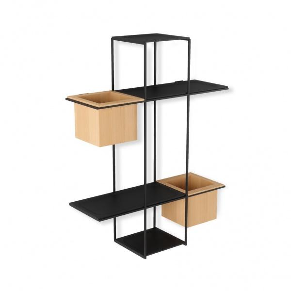 Cubist Multi Shelf - Wandregal mit Behältern für Blumen, Utensilien...., Metall schwarz, Behälter Ba