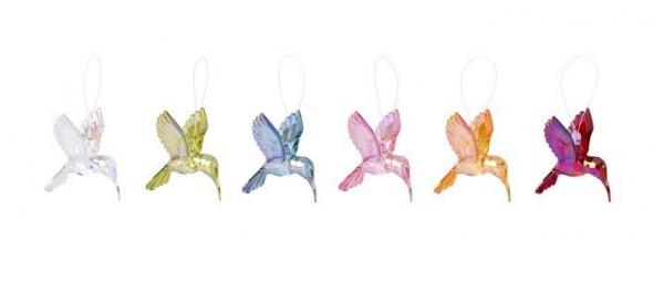 Kolibri-Acrylglas Anhänger 6er, Kolibri in 6 verschiedenen Farben, Größe ca 6 cm