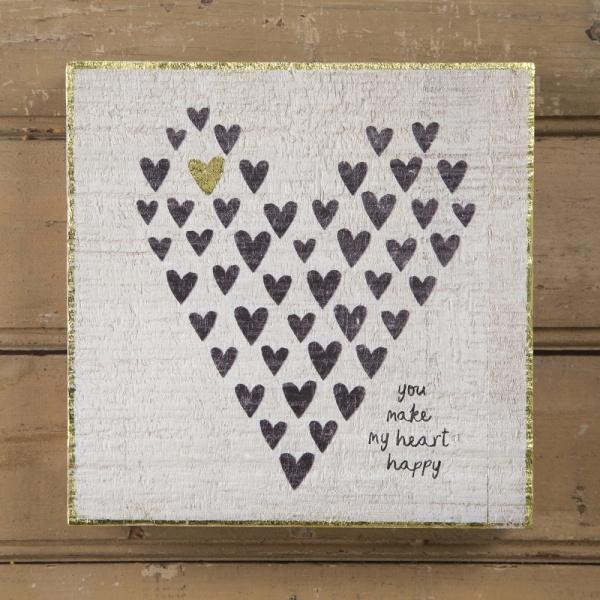 Wandbild Heatt Happy, Druck auf Holz, Größe: 17,5 x 17,5 cm