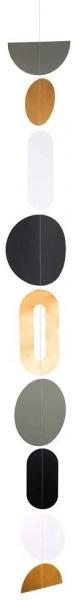Oval und Kreise Kette, Länge 125 cm, Farbe schwarz/ gold