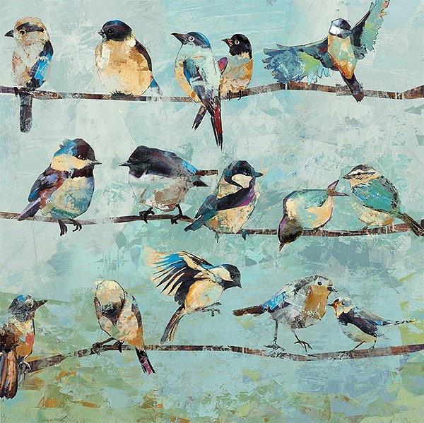 Wandbild Druck Meisen auf Ast,Größe 60 x 60 cm