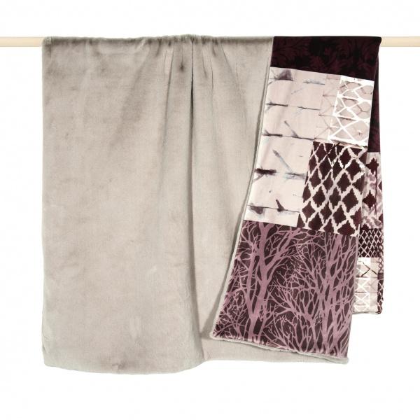 Patch Plaid, Kunstfelldecke beige mit Patchdruck, Größe 140x190 cm,