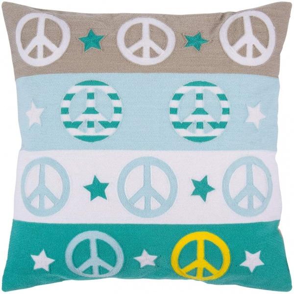 Kissenhülle PEACE, Muster PEACE-Zeichen gestickt, verschiedene Farben, Größe 45x45 cm