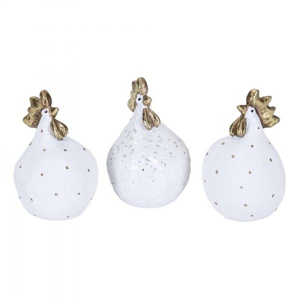 Glamour Hennen 3-er Set, Farbe weiß mit goldenen Punkten, Größe 5,2 cm