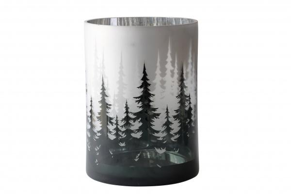 Windlicht Glas Tannenwald, sandgestrahlt milchig weiß innen glänzend silber, verschiedene Größen
