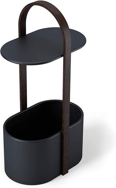 HUB Beistelltisch, Farbe Metall schwarz/ Holz walnuss, mit großem Ablagefach