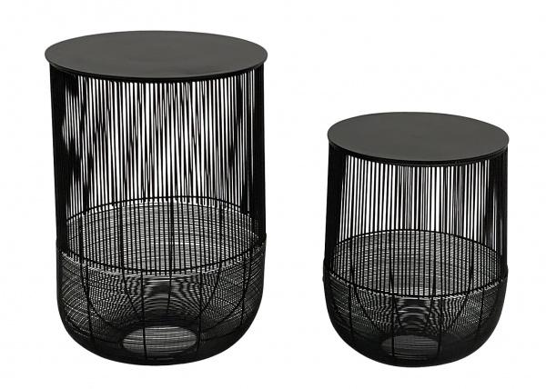Beistelltisch bauchig Set/2, Alu schwarz Top 41x60cm + 35x47cm, Tischplatte abnehmbar, mit St