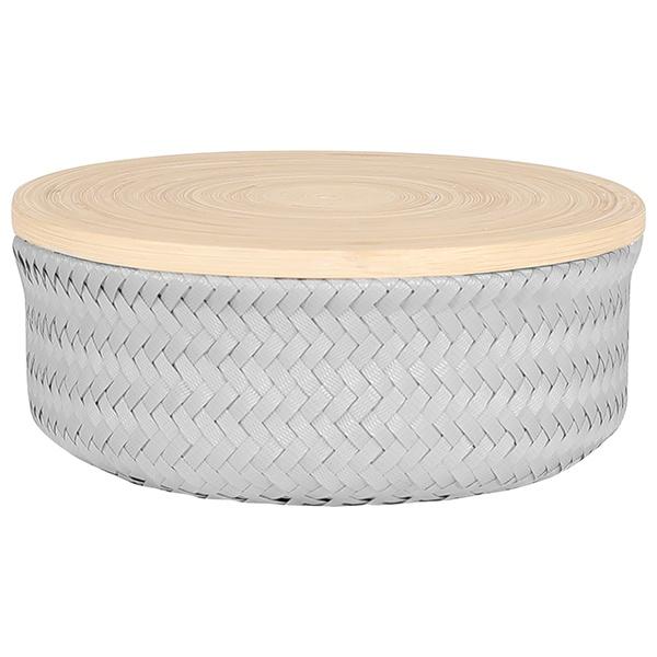Wonder Basket, Flechtkorb mit Bambusdeckel, Farbe flint grey, Verschiedene Größen