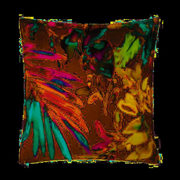 Kissenhülle Juanita, bunter aquarelliger Blumen- und Blätterdruck, verschiedene Größen