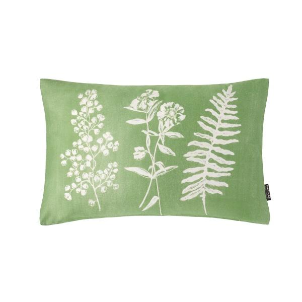 Kissenhülle Erba, Größe 30x50 cm, Druck Gräser auf Baumwolle, Farbe grün