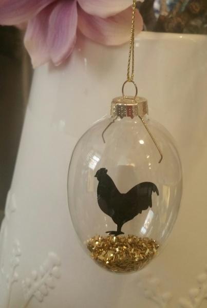 Dekoratives Glasei zum Hängen, schwarzer Hahn mit goldenen Glitzerstreu, Größe ca.8x5 cm