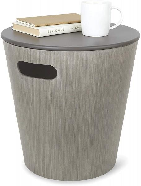 Woodrow, Storage Stool, Beistellhocker mit Stauraum Holz Bambus, Farbe grey, , Göße 40.5 x 40.5 x