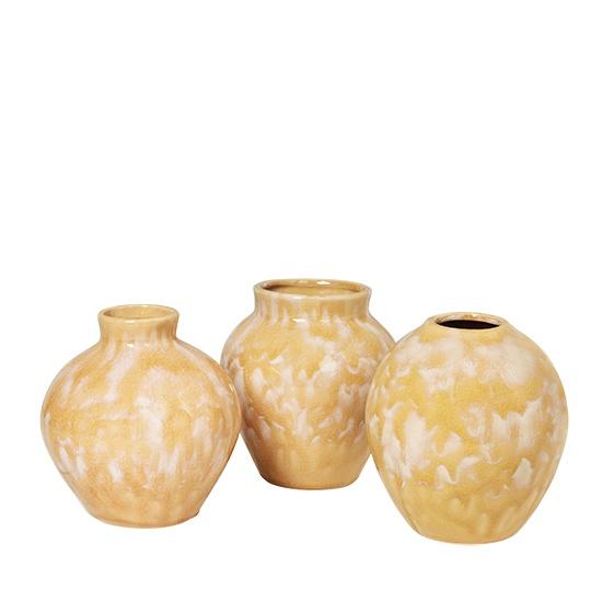 Vase Ingrid, Keramik in Farbe oliv yellow, verschiedene Formen, Größe 14x14,5 cm