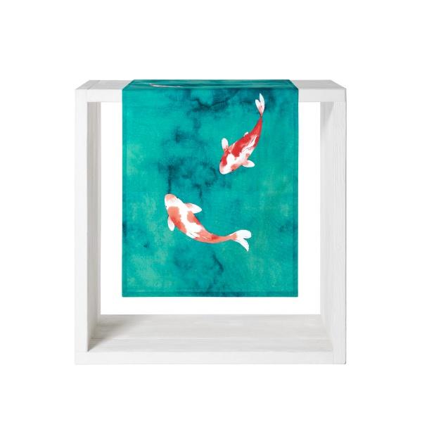 Tischläufer Koi, Größe 50x150 cm, Farbe lagune, 100% Baumwolle