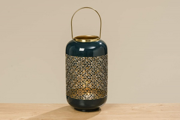 Windlicht / Laterne Astair petrol, Material Eisen petrol emalliert - innen gold, Größe 33 x 18 cm