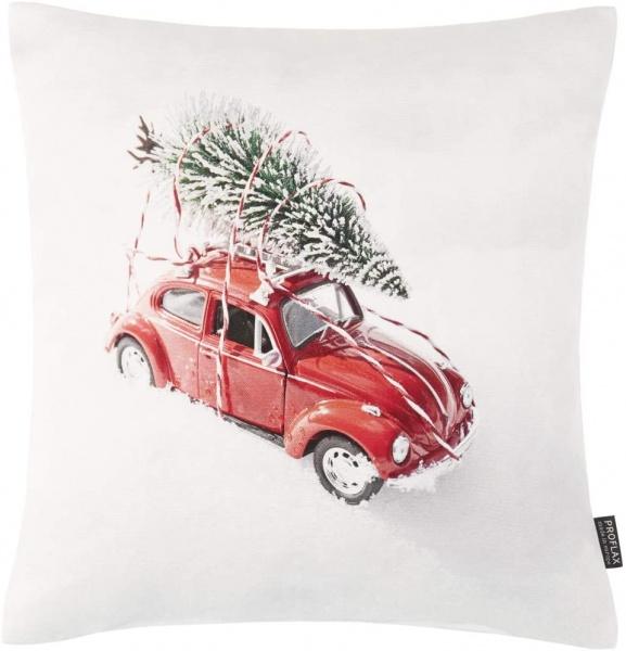 Kissenhülle Neva, Weihnachtsbaumtransport VW Käfer - Druck auf 100% Baumwolle, Größe 40x40 cm
