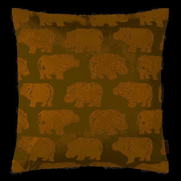 Kissenhülle Hippo, goldener Druck auf glatter mercerisierter Baumwolle, Größe 40x40 cm