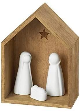 Kleine Krippe, Holz mit Pozellanfiguren, Größe: ca.12 x 10 x 6 cm