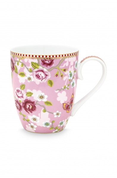 PIP Tasse groß, Fassungsvermögen 350 ml, Muster Chinese Rose, verschiedene Farben