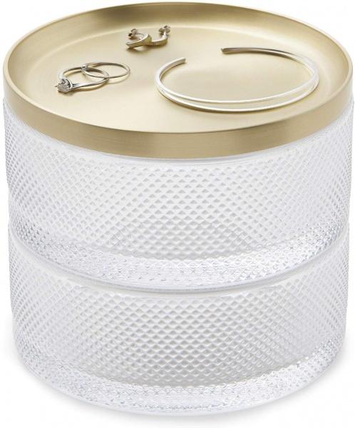 Tesora Glas Box, 3 teilig, goldener Deckel,