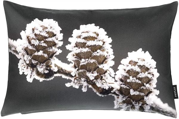 Kissenhülle Gelo, Fotodigitaldruck geeiste Zapfen, Größe 27x43 cm