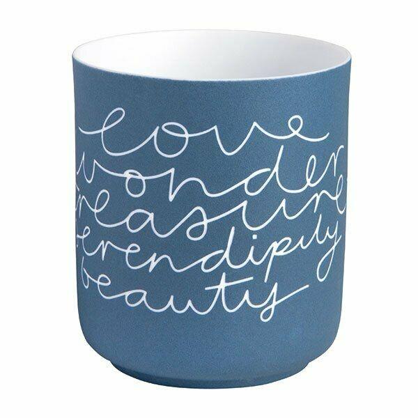 Teelichthalter Porzellan Blau/ weiß mit Spruch
