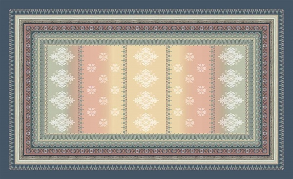 Tischdecke 150 x 250 cm, Muster Olbia 41, Farbspiel beige / grau / blau