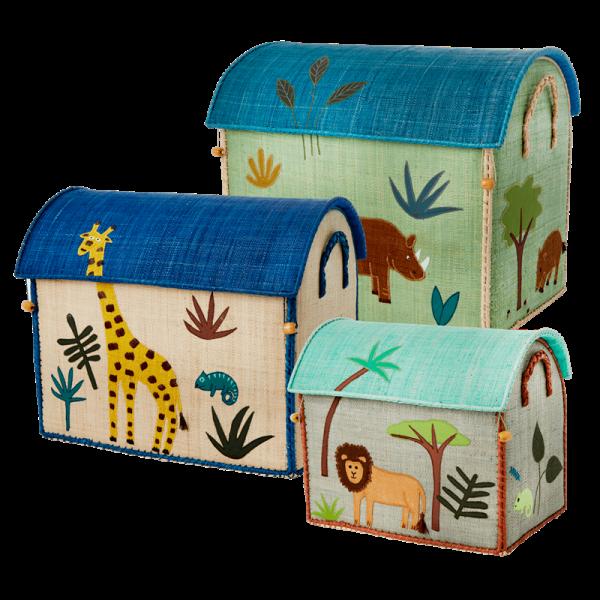 Raffia-Korbset, Jungle Animal Print, verschiedene Farbvarianten und Größen