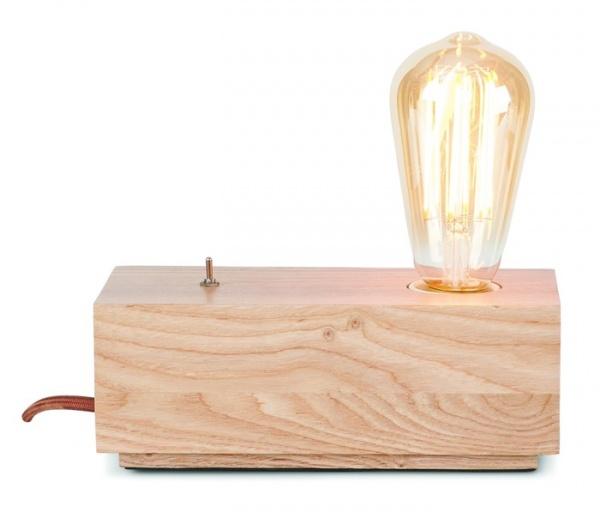 Tischleuchte Kobe, Holztischleuchte zur Ergänzung mit Filamentfadenbirne, verschiedene Formen