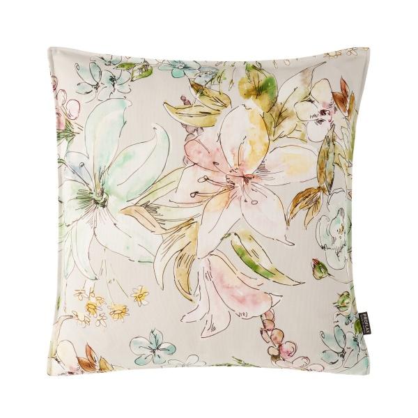 Kissenhülle Angelina, pastelliger aquarelliger Blumendruck , 100% BW, verschiedene Größen