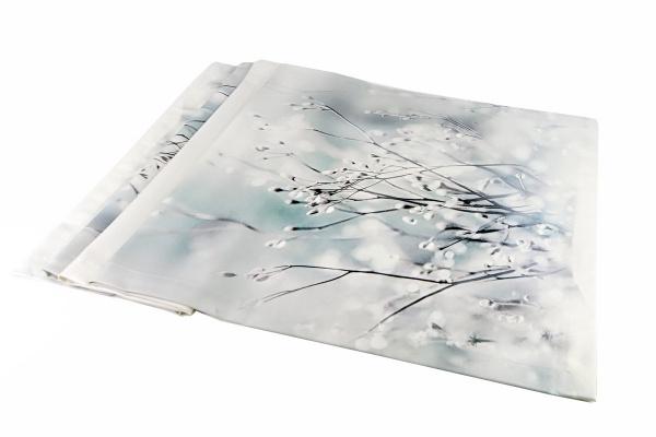 Tischläufer Icefield, Verschneite Äste/ Weidenkätzchen, Größe 50x170 cm, 100% Baumwolle