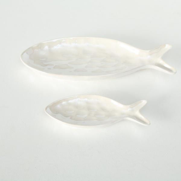 Teller Set Zyrus 2-teilig, Steingut Fische-Set groß/ klein, verschiedene Farben