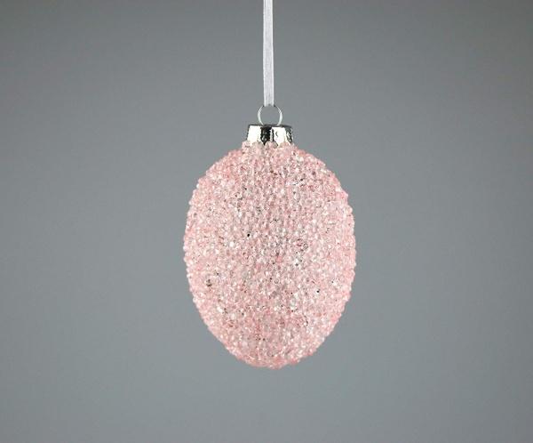 Dekoratives Glasei zum Hängen, mit perlenbesetzter Oberflächenstruktur