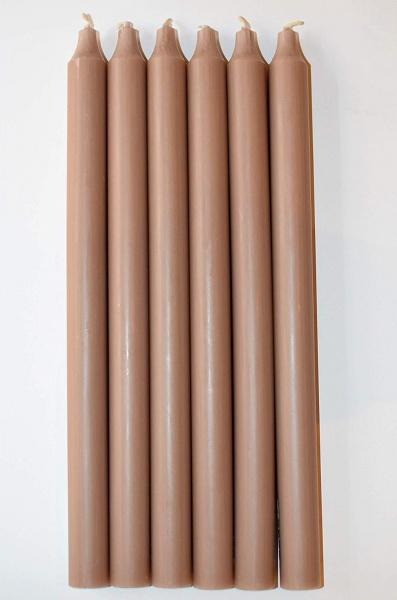 Stabkerze Rustik 6er Set, durchgefärbt, Brenndauer 13 Stunden, verschiedene Farben