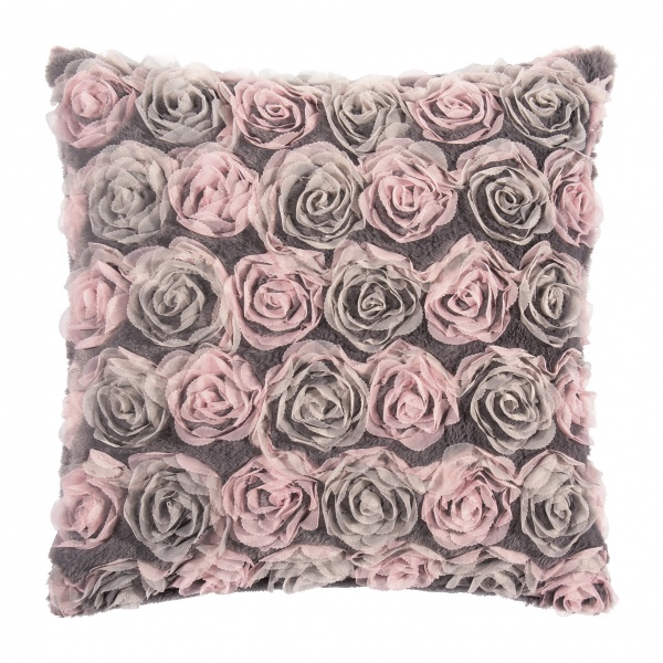 Cinderella Kissenhülle, Farbe Grey / Rose Blüten, Größe 45 x45 cm