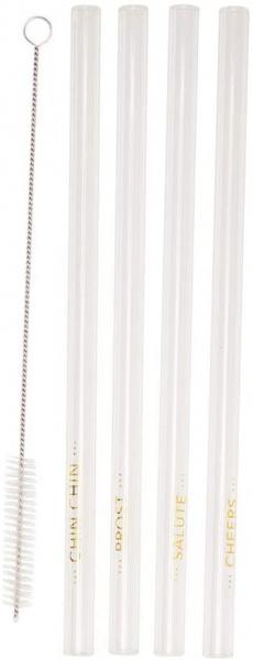 Glastrinkhalm 4er Set, Größe 21,5x1 cm