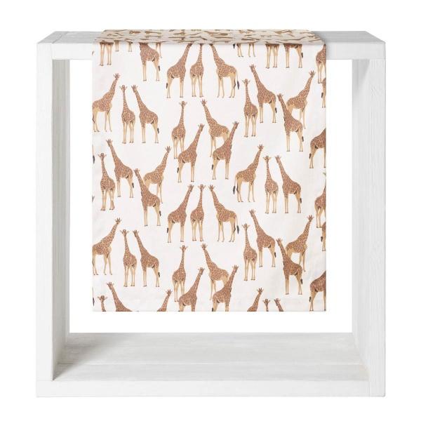 Tischläufder Safari, Größe 50x160cm, Druck Giraffen auf 100%Baumwolle