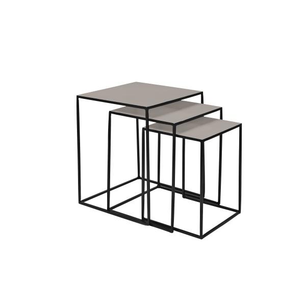 Tischset 3 teilig Freja iron, Farbe Black/Dove Top