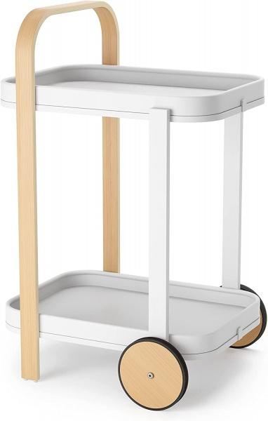 Bellwood Barwagen, Servierwagen und Beistelltisch mit 2 Etagen und herausnehmbaren Tabletts