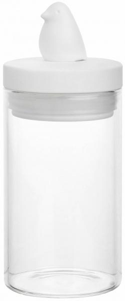 Ostern Aufbewahrungsdose Piepmatz, Material Glas/ Deckel Porzellan weiß