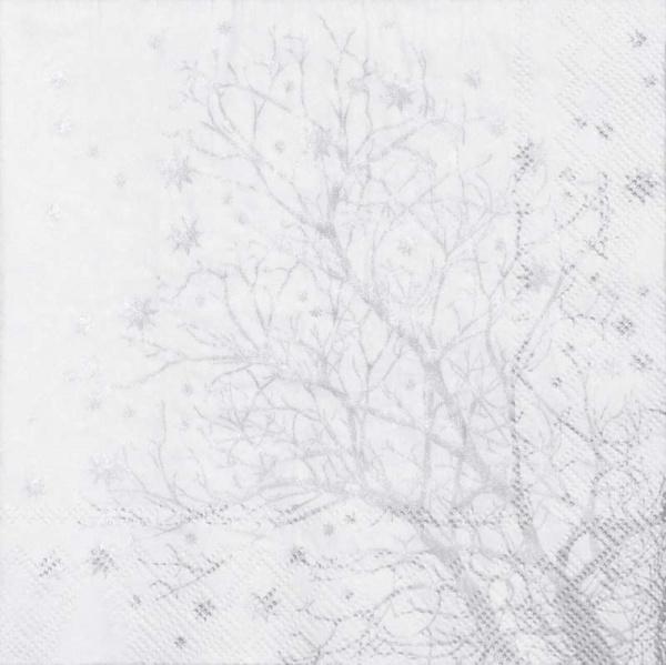 Serviette Baum silber/ weiß 33x33 cm