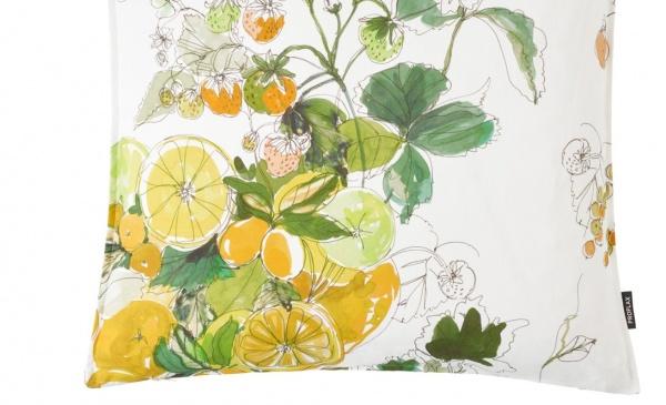 Kissenhülle Sicilia, Farbe limone, Muster Zitronen/ Limetten, Größe 40x60 cm, 100% Baumwolle