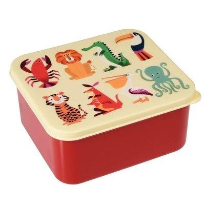 Brotdose quatratisch mit verschiedenen Kindermotiven, Größe 15x14x7 cm