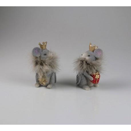 Mäusekönige grau 2 er sortiert, Größe: 6,5 x 8 x 12.5 cm