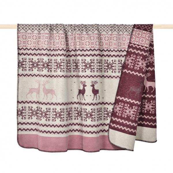 Decke Lodge, Baumwolle, Winterliches Motiv, Größe 150 x 200 cm
